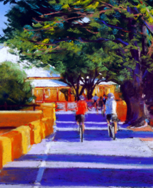 Vincent way streetscape art in pastel at art gallery for Best way to sell art online