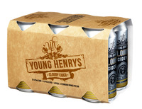 YOUNG HENRYS 4.6% CLOUDY CIDER 6 PACK x 375ML TINNIES CARTON