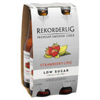 REKORDERLIG LOW SUGAR STRAWBERRY and LIME CIDER 4 x 330ml STUBBIES