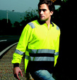 'Bocini' Unisex Hi-Vis Long Sleeve Polyface/Cotton Back Polo with Reflective Tape