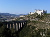 Spoleto - the fortress and the Roman aqueduct.