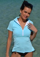 CHLORINE RESISTANT  Beautiful Blue Rashie - Cap Sleeve