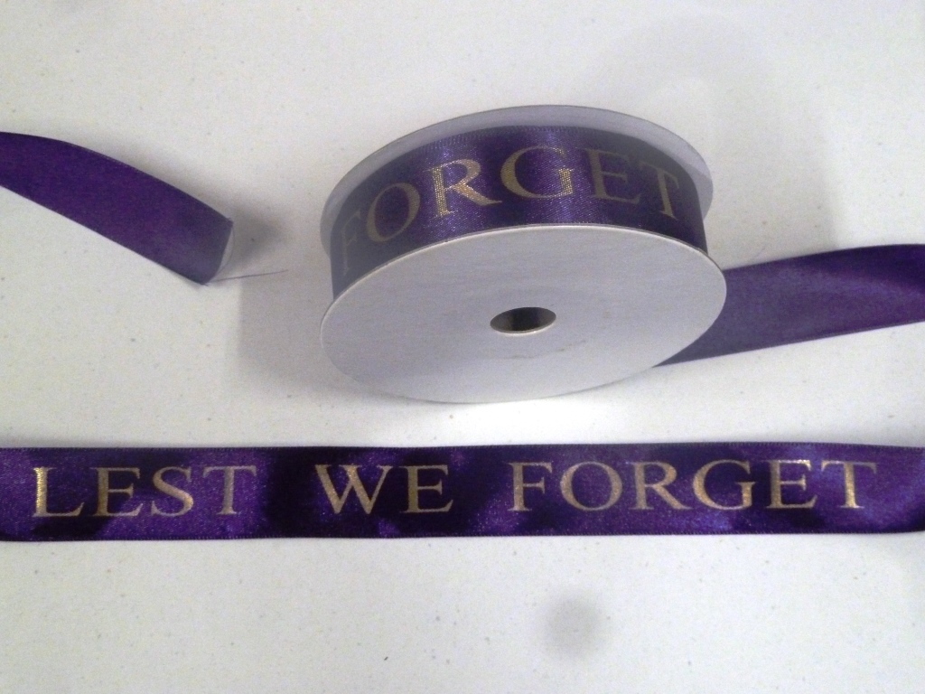 Lest We Forget ribbon 25mm