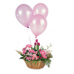 Celebration Basket Arrangement and Three Balloons