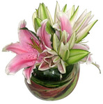 Oriental Lilium Posy in glass fishbowl