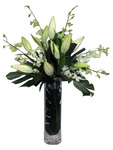 Tall Arrangement in Glass Vase - White