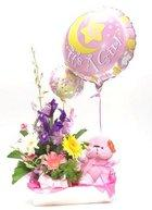 Baby girl arrangement   with teddy and balloon