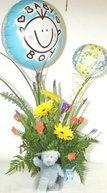 Baby boy arrangement   teddy and air balloons