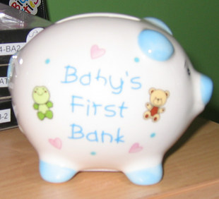 babys first piggy bank