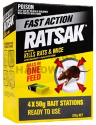 PESTICIDE RATSAK ONE SHOT 50G PK4