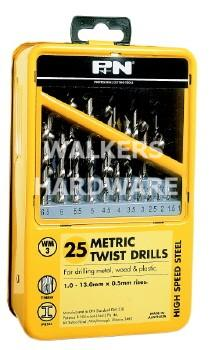 DRILL SET 25 PIECE METRIC (P&N)