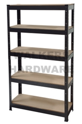 SHELF UNIT 5 TIER SILVER BLACK 200KG