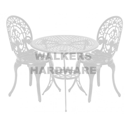 Setting Cast Iron White 3 Piece Outdoor Outdoor Furniture And