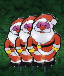 LIGHT SOLAR STAKE SANTA 32CM 3PK