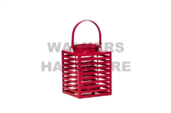 LANTERN METAL/GLASS 19CM RED