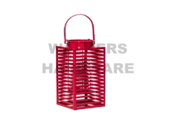 LANTERN METAL/GLASS 31CM RED