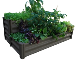 GARDEN BED TIERED 90(L)X70(W)X41(H)CM WOODLAND GREY