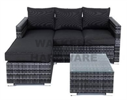 SETTING 3 PCE SOFA STEEL HUDSON