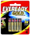 BATTERY - EVEREADY LONG LIFE GOLD AAA PK4
