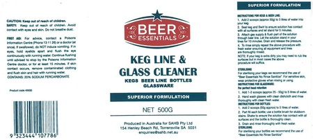 Beer Essentials KEG LINE and GLASS Cleaner 500g