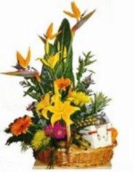 Basket of Flowers Chocolates and Fruit