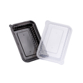 Wavebox Rectangular Container 480ml Black With Clear Lid - 150 Per Box