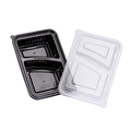 Wavebox Rectangular Container 2 Compartment Black With Clear Lid - 150 Per Box