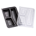 Wavebox Rectangular Container 3 Compartment Black With Clear Lid - 150 Per Box