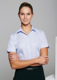 'AP Business' Ladies Henley Short Sleeve Shirt
