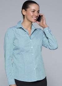 'AP Business' Ladies Epsom Modern Check Long Sleeve Shirt