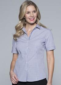 'AP Business' Ladies Epsom Modern Check Short Sleeve Shirt