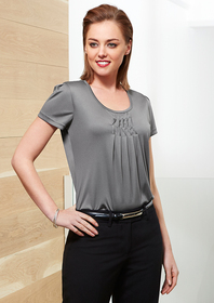'Biz Corporate' Ladies Deco Pleat Top