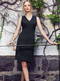49becd10aeaf6  Biz Corporate  Comfort Wool Stretch Ladies Sleeveless V Neck Dress (NEW)