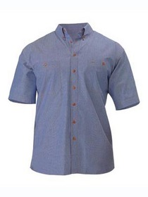 'Bisley Workwear' Mens Short Sleeve Chambray Shirt