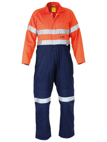 'Bisley Workwear' HiVis 2 Tone Hi Vis Lightweight Coveralls 3M Reflective Tape