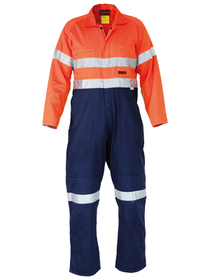 'Bisley Workwear' Flame Resistant - Westex® Ultra Soft® HiVis 3M FR Reflective Taped Coverall