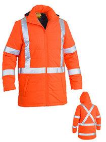 'Bisley Workwear'  Taped Hi Vis Puffer Jacket -   X Back (Shower Proof)