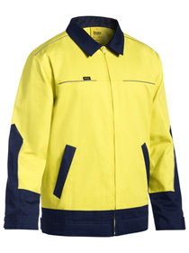'Bisley Workwear' 2 Tone Hi Vis Cotton Drill Jacket with Liquid Repellent Finish
