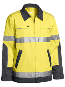 'Bisley Workwear' 3M Taped 2 Tone Hi Vis Cotton Drill Jacket with Liquid Repellent Finish