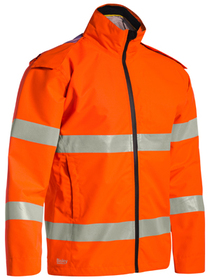 'Bisley Workwear'  Taped HiVis Lightweight Ripstop Rain Jacket