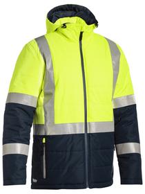 'Bisley Workwear'  Taped Two Tone Hi Vis Puffer Jacket (Shower Proof)