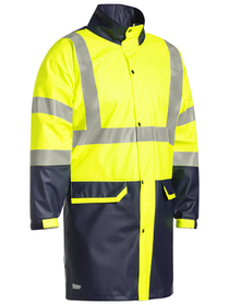 'Bisley Workwear' HiVis Two Tone Taped Stretch PU Rain Jacket