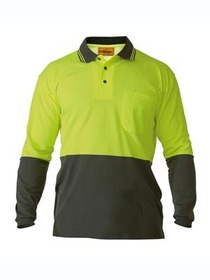 'Bisley Workwear' HiVis Two Tone Long Sleeve Polo