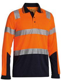 'Bisley Workwear' 3M Taped HiVis Two Tone Micromesh Long Sleeve Polo Shirt
