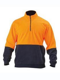 'Bisley Workwear'  HiVis Polarfleece 2 Tone Zip Pullover