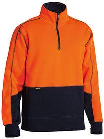 'Bisley Workwear'  HiVis Fleece 2 Tone Zip Pullover