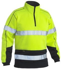 'Bisley Workwear'  HiVis Taped Fleece 2 Tone Zip Pullover