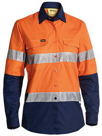 'Bisley Workwear'  Ladies 3M Taped Hi Vis X Airflow™ Ripstop Long Sleeve Shirt