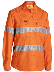 'Bisley Workwear'  Ladies 3M Taped HiVis X Airflow Ripstop Long Sleeve Shirt