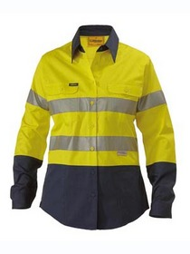 'Bisley Workwear' Ladies 3M Taped Lightweight  HiVis 2 Tone Long Sleeve Drill Shirt